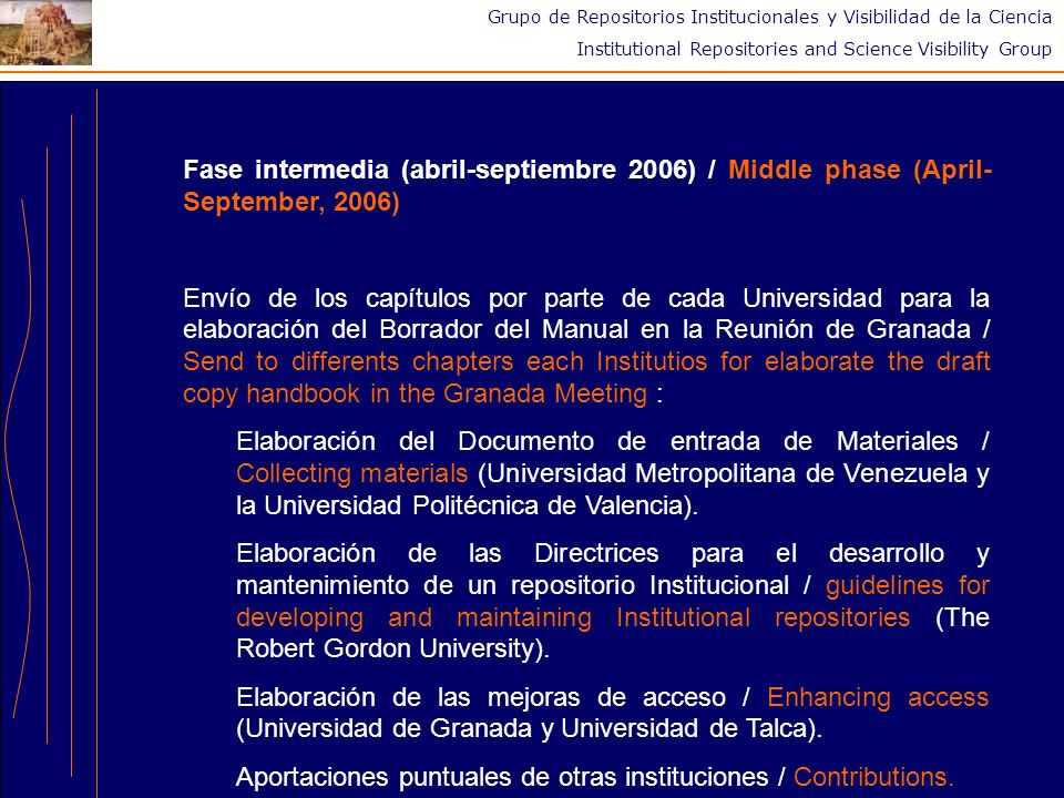 Grupo de Repositorios Institucionales y Visibilidad de la Ciencia Institutional Repositories and Science Visibility Group Fase intermedia (abril-septi