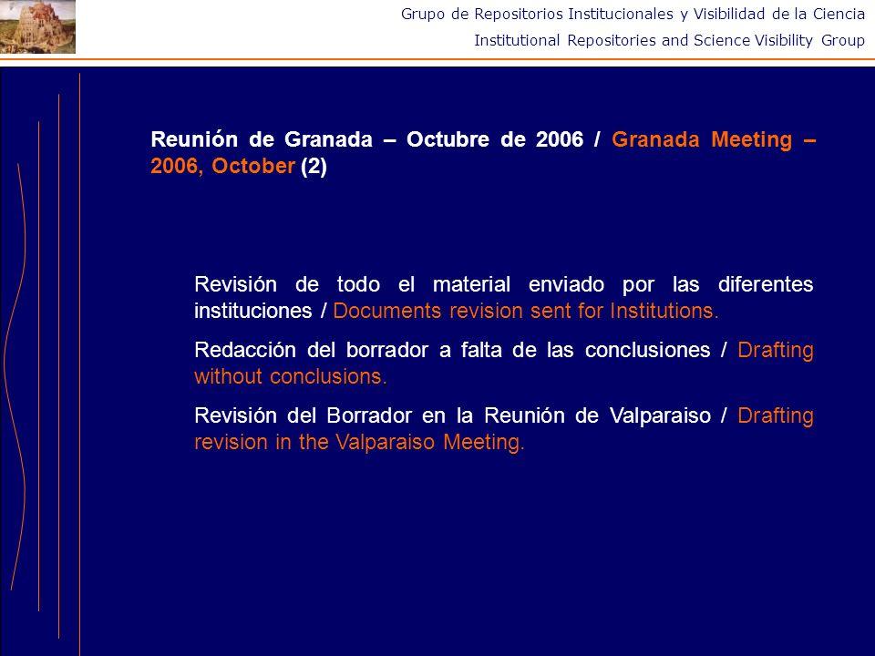 Grupo de Repositorios Institucionales y Visibilidad de la Ciencia Institutional Repositories and Science Visibility Group Conclusiones / Conclusions Importante cohesión del grupo / High group cohesion.