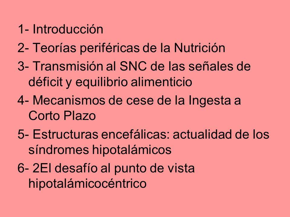 1- Introducción 2- Teorías periféricas de la Nutrición 3- Transmisión al SNC de las señales de déficit y equilibrio alimenticio 4- Mecanismos de cese