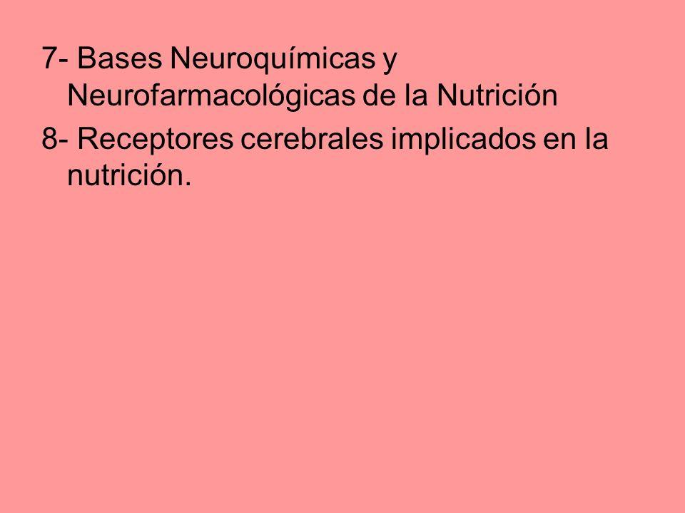 7- Bases Neuroquímicas y Neurofarmacológicas de la Nutrición 8- Receptores cerebrales implicados en la nutrición.