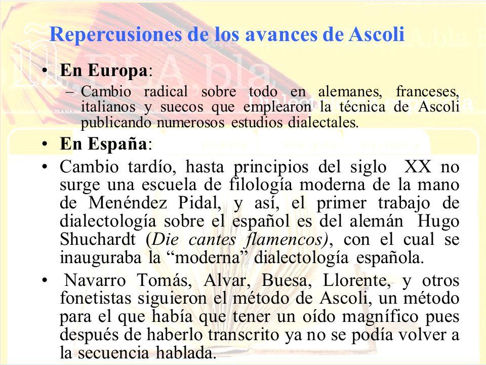 En Europa: –Cambio radical sobre todo en alemanes, franceses, italianos y suecos que emplearon la técnica de Ascoli publicando numerosos estudios dial