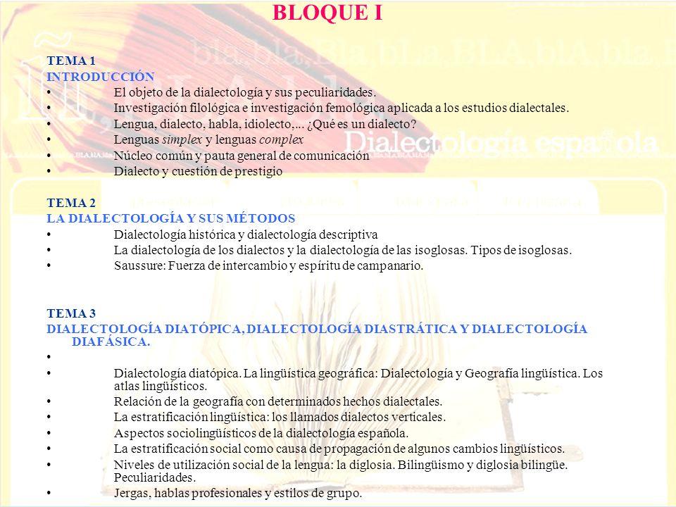 BLOQUE I TEMA 1 INTRODUCCIÓN El objeto de la dialectología y sus peculiaridades. Investigación filológica e investigación femológica aplicada a los es