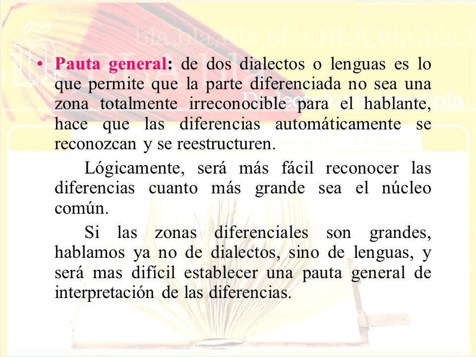 Pauta general: de dos dialectos o lenguas es lo que permite que la parte diferenciada no sea una zona totalmente irreconocible para el hablante, hace