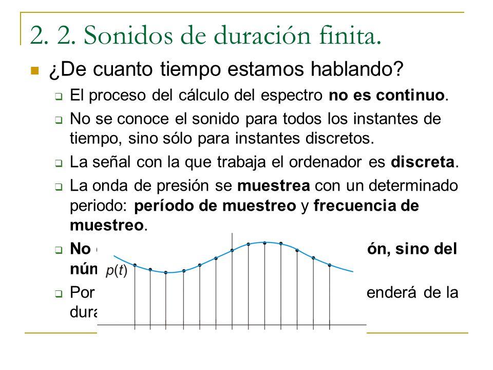 2. 2. Sonidos de duración finita. Sonidos finitos: Hasta ahora se ha supuesto que los sonidos son infinitos, pero esto nunca así. Lo que se ha visto p
