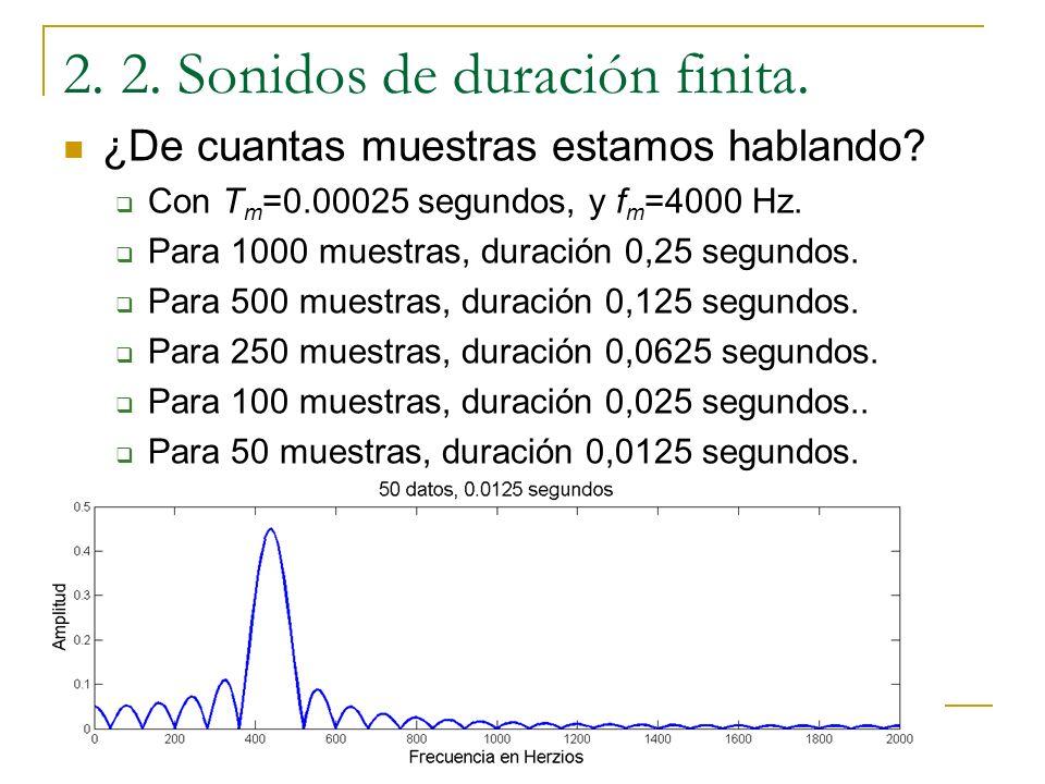 2. 2. Sonidos de duración finita. ¿De cuanto tiempo estamos hablando? Si la frecuencia de muestreo está fija, el número de datos sólo depende de la du
