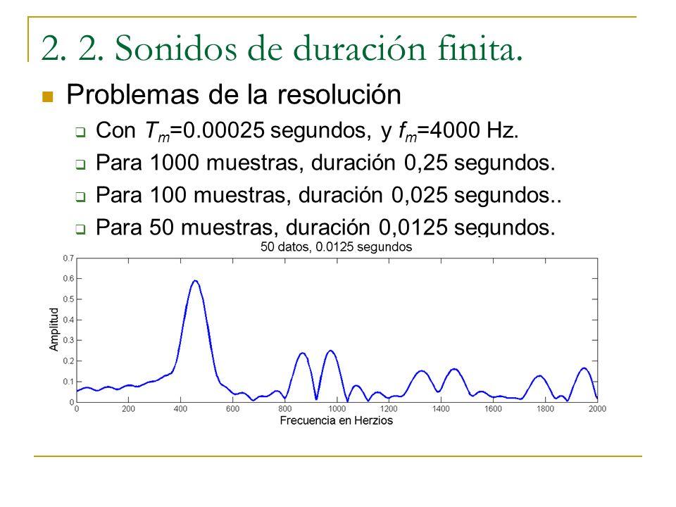 2. 2. Sonidos de duración finita. ¿De cuantas muestras estamos hablando? Con T m =0.00025 segundos, y f m =4000 Hz. Para 1000 muestras, duración 0,25