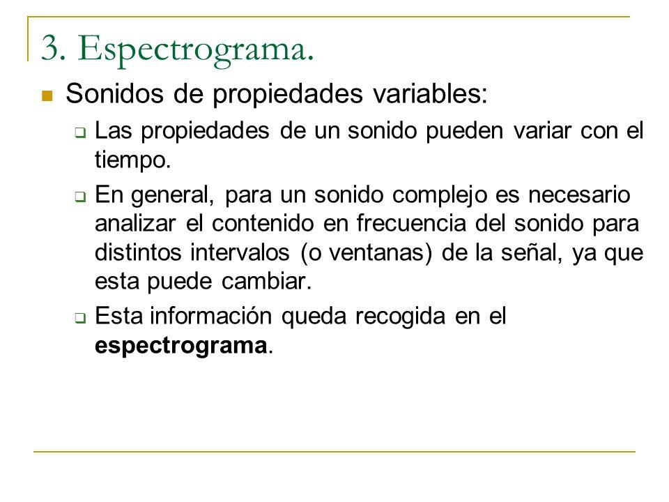 3. Espectrograma. Sonidos de propiedades variables: Las propiedades de un sonido pueden variar con el tiempo.