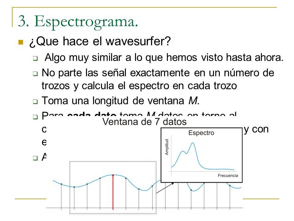 3. Espectrograma. Señales que varían continuamente Ejemplo: Señal progresiva: Tomando los mismos trozos. Tomando 100 trozos.