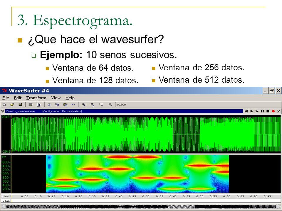 ¿Que hace el wavesurfer? Algo muy similar a lo que hemos visto hasta ahora. No parte las señal exactamente en un número de trozos y calcula el espectr