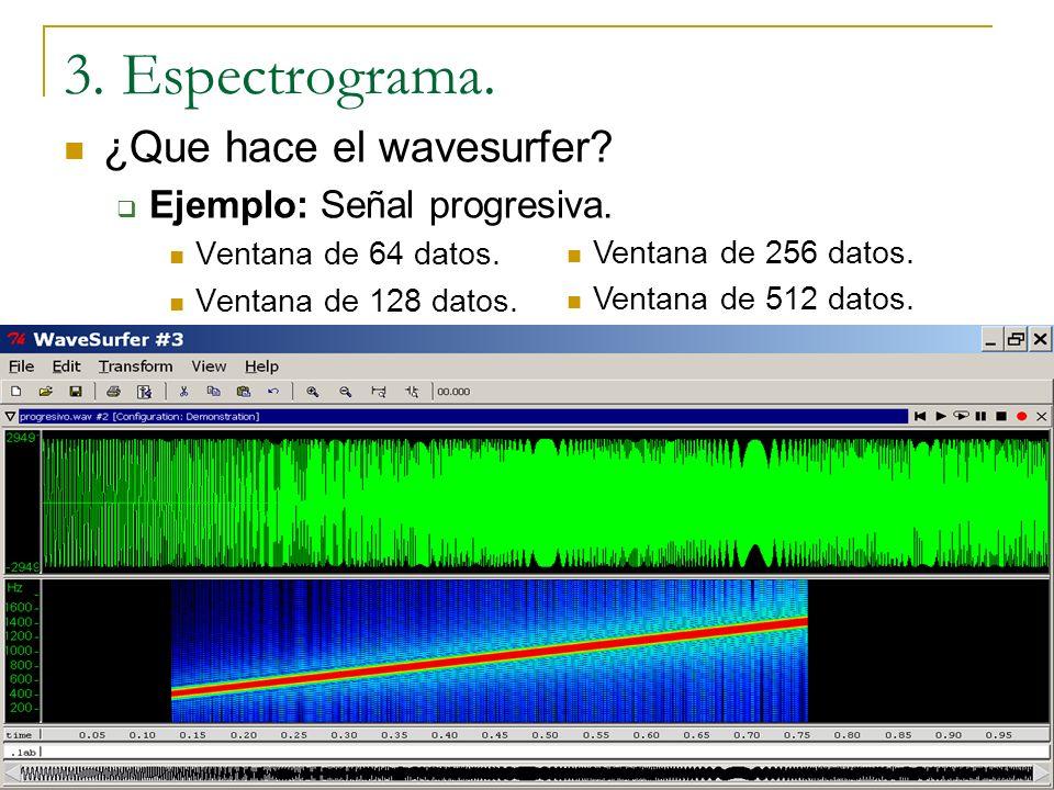 ¿Que hace el wavesurfer? Ejemplo: 10 senos sucesivos. Ventana de 64 datos. Ventana de 128 datos. Ventana de 256 datos. Ventana de 512 datos. 3. Espect
