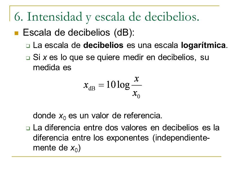 6. Intensidad y escala de decibelios. Escala de decibelios (dB): Debido al rango dinámico en la intensidad, es necesaria una escala logarítmica. Lo im