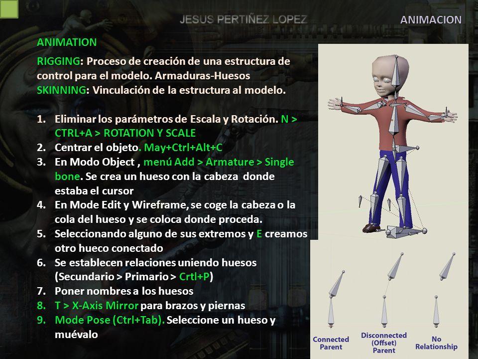 ANIMACION SKINNING.Unir armadura y objeto 1.Seleccionar objeto.