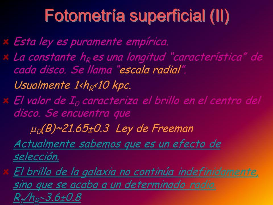 Fotometría superficial (II) Esta ley es puramente empírica. La constante h R es una longitud característica de cada disco. Se llama escala radial. Usu