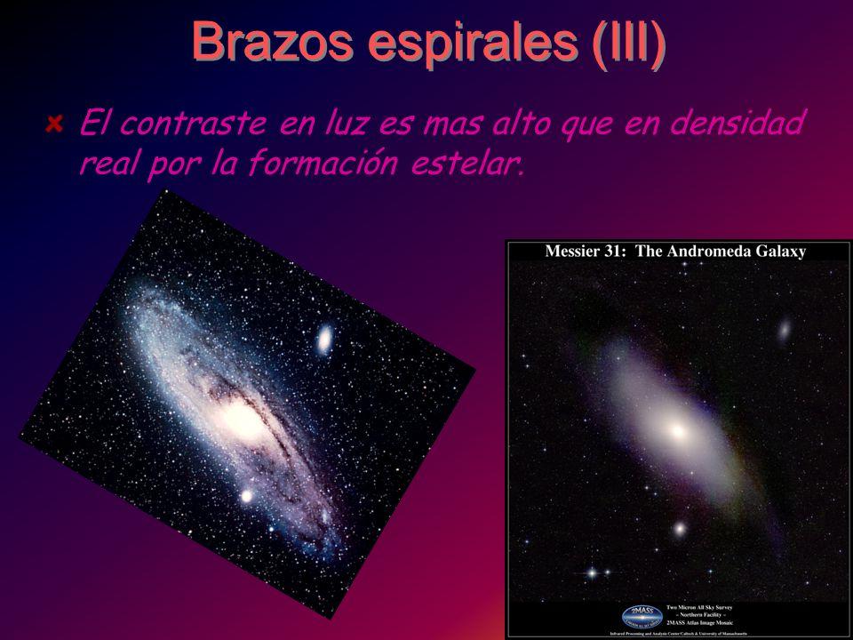 Brazos espirales (III) El contraste en luz es mas alto que en densidad real por la formación estelar.