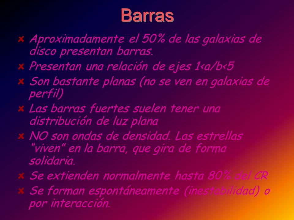 Barras Aproximadamente el 50% de las galaxias de disco presentan barras. Presentan una relación de ejes 1<a/b<5 Son bastante planas (no se ven en gala