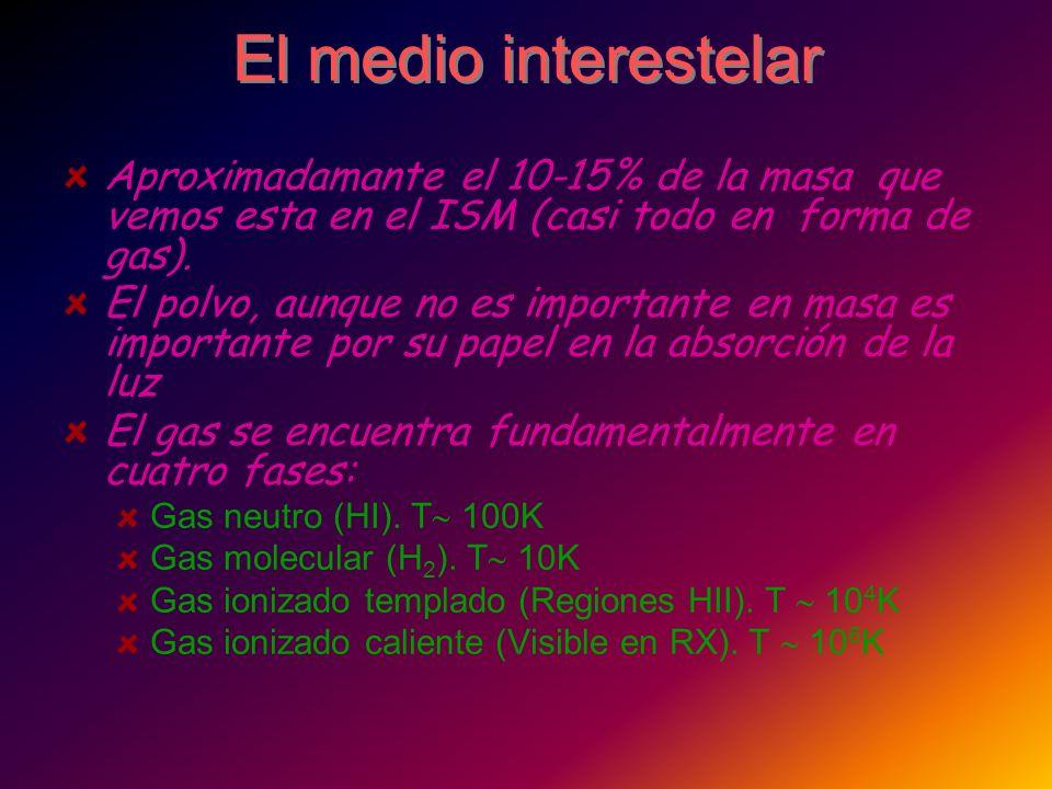 El medio interestelar Aproximadamante el 10-15% de la masa que vemos esta en el ISM (casi todo en forma de gas). El polvo, aunque no es importante en