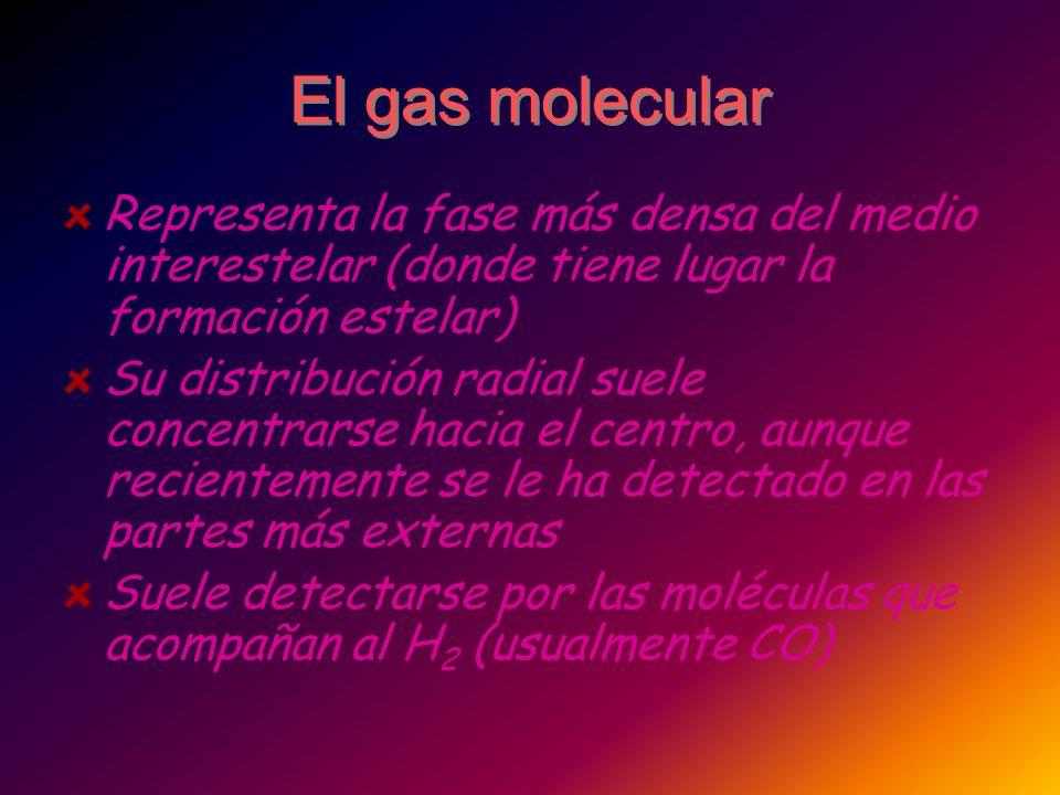 El gas molecular Representa la fase más densa del medio interestelar (donde tiene lugar la formación estelar) Su distribución radial suele concentrars