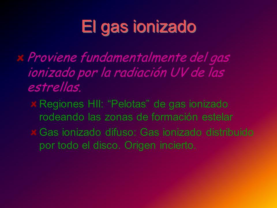 El gas ionizado Proviene fundamentalmente del gas ionizado por la radiación UV de las estrellas. Regiones HII: Pelotas de gas ionizado rodeando las zo