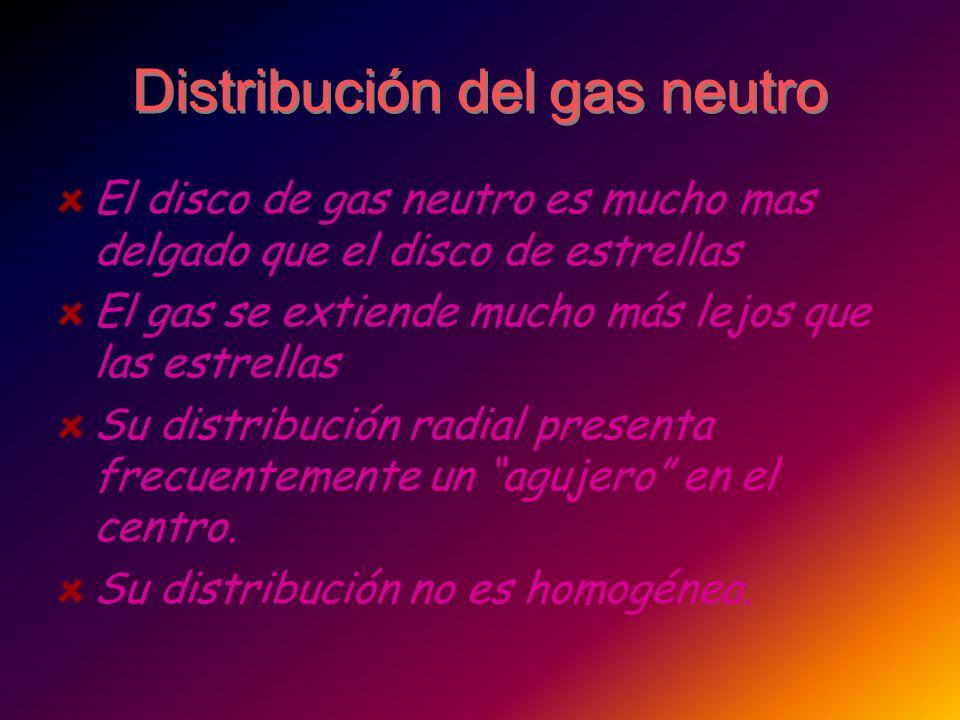 Distribución del gas neutro El disco de gas neutro es mucho mas delgado que el disco de estrellas El gas se extiende mucho más lejos que las estrellas