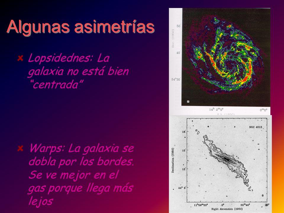 Algunas asimetrías Lopsidednes: La galaxia no está bien centrada Warps: La galaxia se dobla por los bordes. Se ve mejor en el gas porque llega más lej