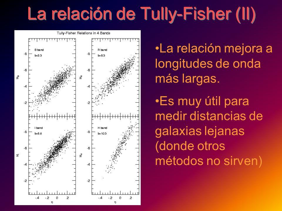 La relación de Tully-Fisher (II) La relación mejora a longitudes de onda más largas. Es muy útil para medir distancias de galaxias lejanas (donde otro