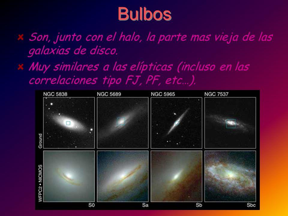 Bulbos Son, junto con el halo, la parte mas vieja de las galaxias de disco. Muy similares a las elípticas (incluso en las correlaciones tipo FJ, PF, e