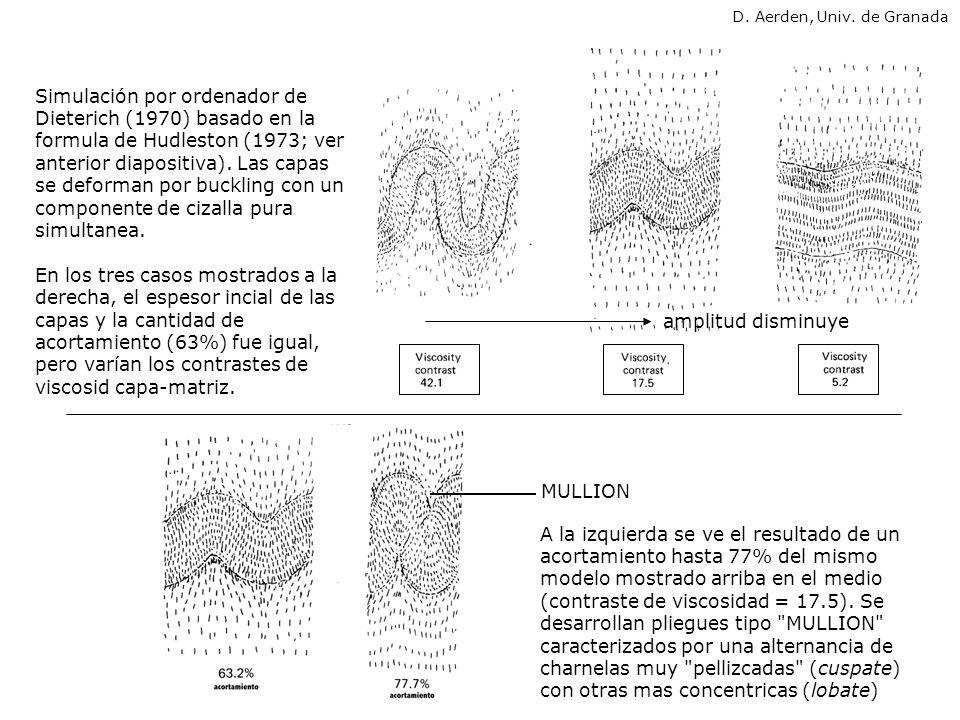 Simulación por ordenador de Dieterich (1970) basado en la formula de Hudleston (1973; ver anterior diapositiva). Las capas se deforman por buckling co