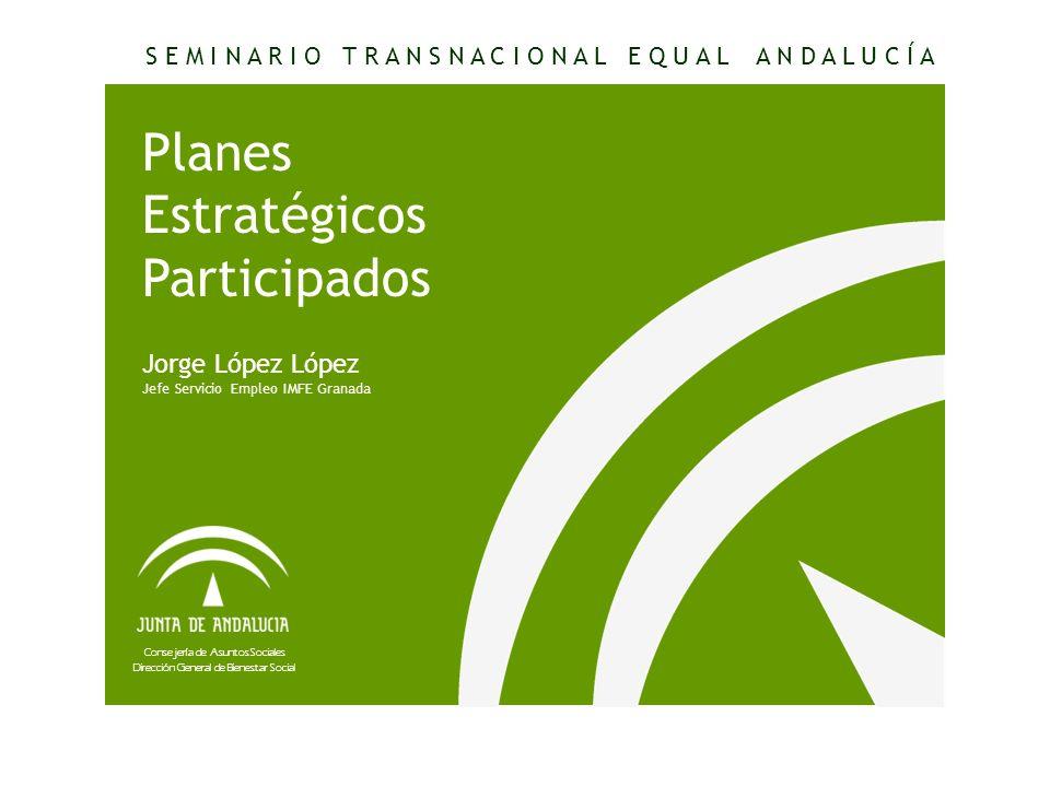 Consejería de Asuntos Sociales Dirección General de Bienestar Social Planes Estratégicos Participados Jorge López López Jefe Servicio Empleo IMFE Gran