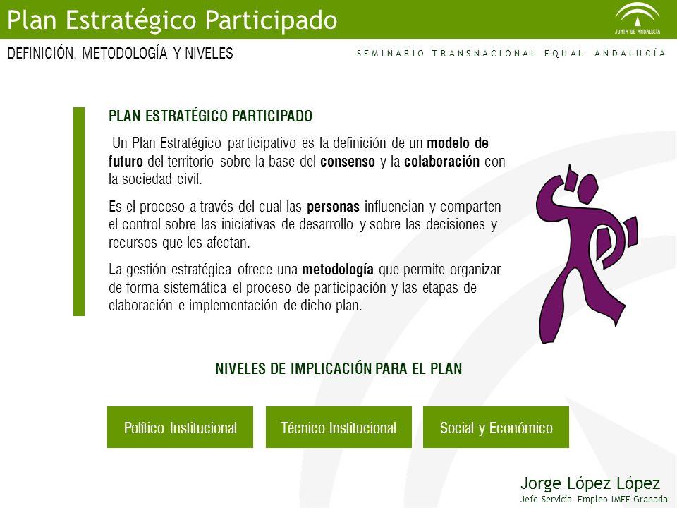 PLAN ESTRATÉGICO PARTICIPADO Un Plan Estratégico participativo es la definición de un modelo de futuro del territorio sobre la base del consenso y la