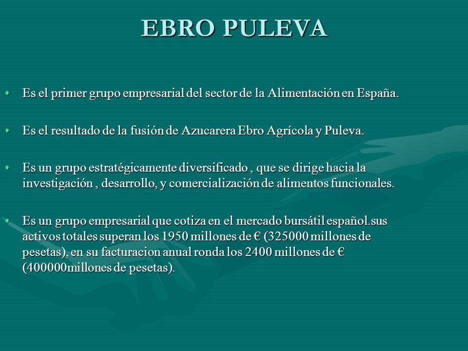 EBRO PULEVA Es el primer grupo empresarial del sector de la Alimentación en España.Es el primer grupo empresarial del sector de la Alimentación en Esp