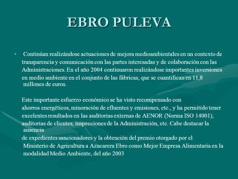 EBRO PULEVA Continúan realizándose actuaciones de mejora medioambientales en un contexto de transparencia y comunicación con las partes interesadas y