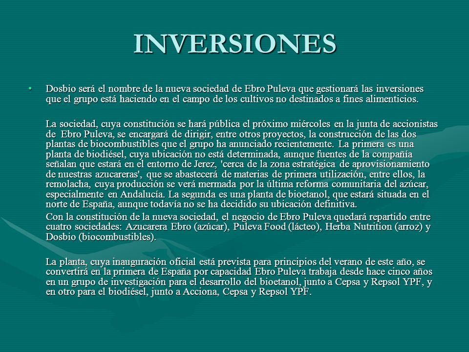 INVERSIONES Dosbio será el nombre de la nueva sociedad de Ebro Puleva que gestionará las inversiones que el grupo está haciendo en el campo de los cul