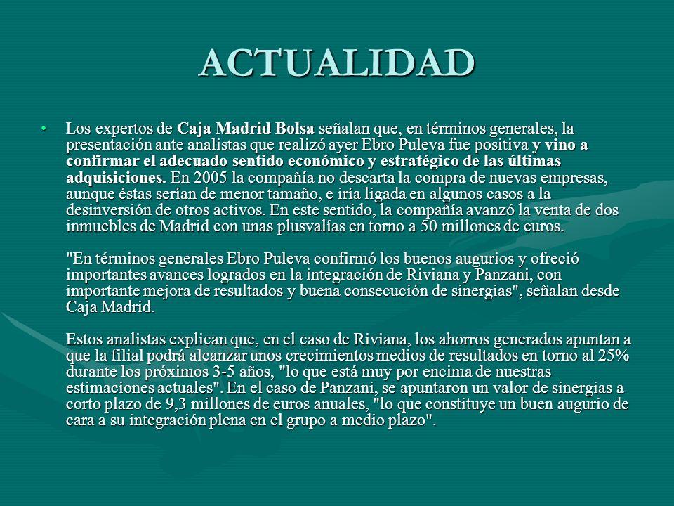 ACTUALIDAD Los expertos de Caja Madrid Bolsa señalan que, en términos generales, la presentación ante analistas que realizó ayer Ebro Puleva fue posit