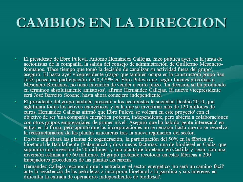 CAMBIOS EN LA DIRECCION El presidente de Ebro Puleva, Antonio Hernández Callejas, hizo pública ayer, en la junta de accionistas de la compañía, la sal