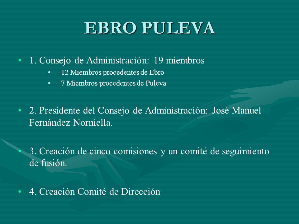 EBRO PULEVA 1. Consejo de Administración: 19 miembros – 12 Miembros procedentes de Ebro – 7 Miembros procedentes de Puleva 2. Presidente del Consejo d