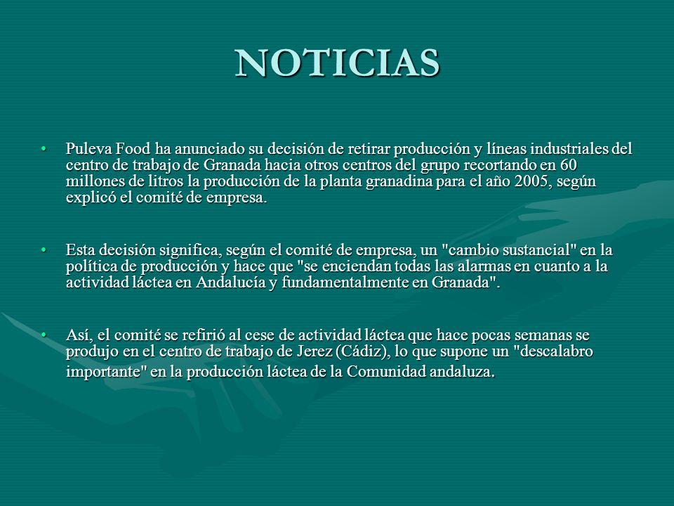 NOTICIAS Puleva Food ha anunciado su decisión de retirar producción y líneas industriales del centro de trabajo de Granada hacia otros centros del gru