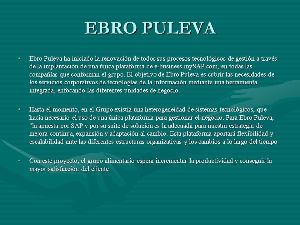 EBRO PULEVA Ebro Puleva ha iniciado la renovación de todos sus procesos tecnológicos de gestión a través de la implantación de una única plataforma de