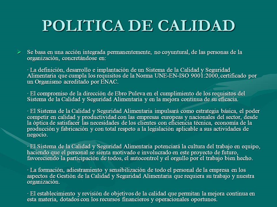 POLITICA DE CALIDAD Se basa en una acción integrada permanentemente, no coyuntural, de las personas de la organización, concretándose en: · La definic
