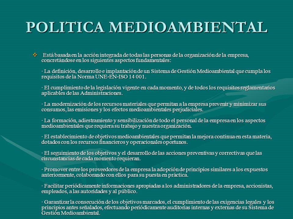POLITICA MEDIOAMBIENTAL Está basada en la acción integrada de todas las personas de la organización de la empresa, concretándose en los siguientes asp