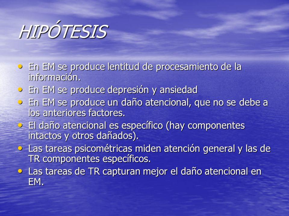 HIPÓTESIS En EM se produce lentitud de procesamiento de la información. En EM se produce lentitud de procesamiento de la información. En EM se produce