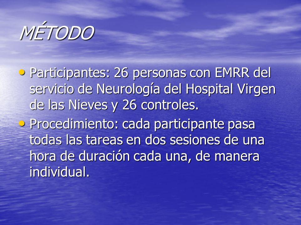 MÉTODO Participantes: 26 personas con EMRR del servicio de Neurología del Hospital Virgen de las Nieves y 26 controles. Participantes: 26 personas con