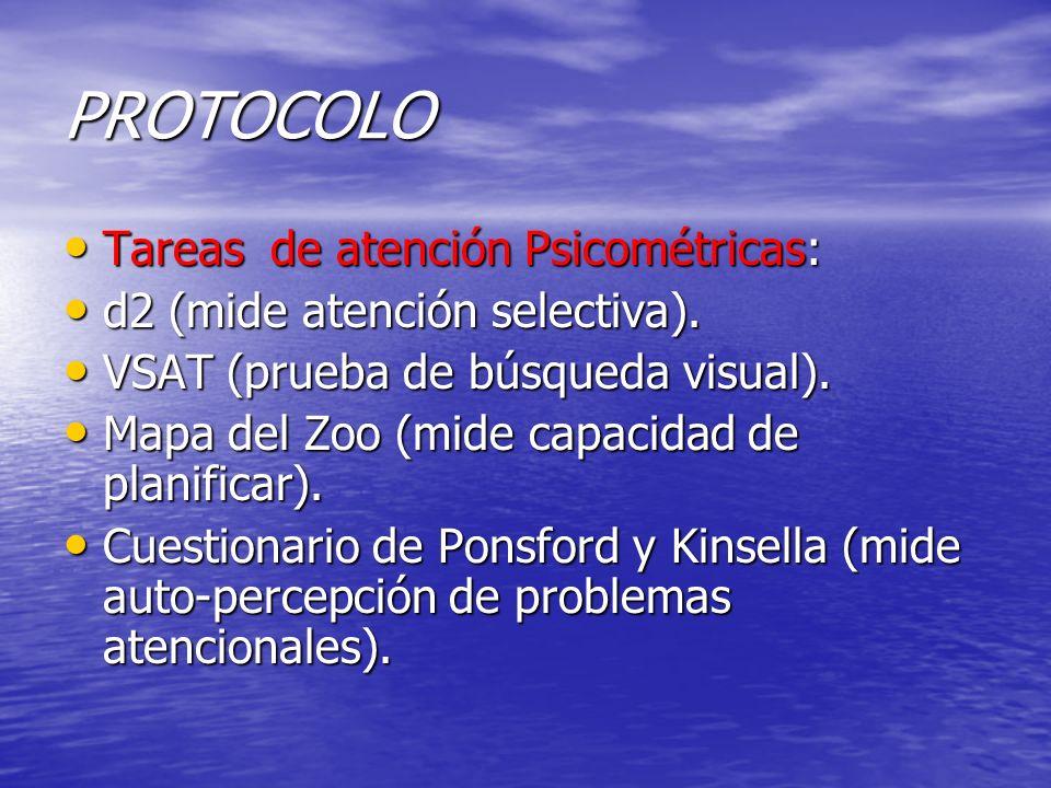 PROTOCOLO Tareas de atención Psicométricas: Tareas de atención Psicométricas: d2 (mide atención selectiva). d2 (mide atención selectiva). VSAT (prueba
