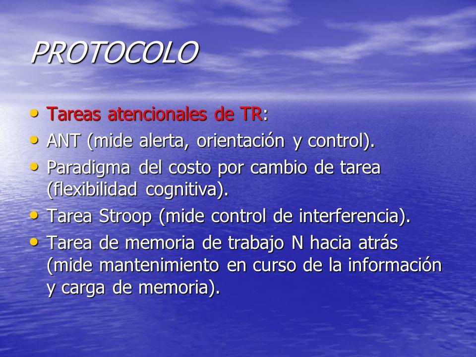 PROTOCOLO Tareas atencionales de TR: Tareas atencionales de TR: ANT (mide alerta, orientación y control). ANT (mide alerta, orientación y control). Pa