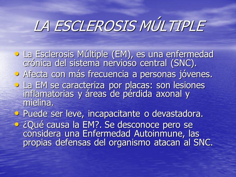 LA ESCLEROSIS MÚLTIPLE La Esclerosis Múltiple (EM), es una enfermedad crónica del sistema nervioso central (SNC). La Esclerosis Múltiple (EM), es una