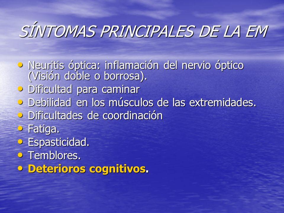 SÍNTOMAS PRINCIPALES DE LA EM Neuritis óptica: inflamación del nervio óptico (Visión doble o borrosa). Neuritis óptica: inflamación del nervio óptico