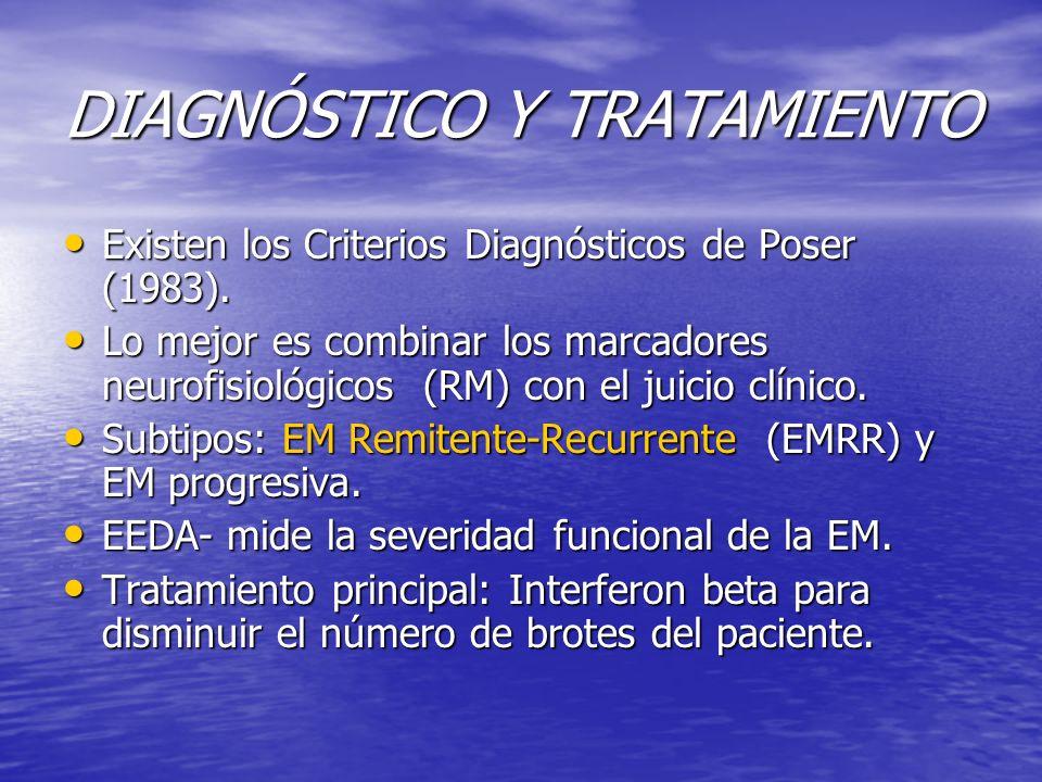 DIAGNÓSTICO Y TRATAMIENTO Existen los Criterios Diagnósticos de Poser (1983). Existen los Criterios Diagnósticos de Poser (1983). Lo mejor es combinar