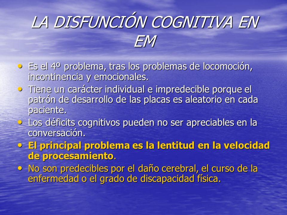LA DISFUNCIÓN COGNITIVA EN EM Es el 4º problema, tras los problemas de locomoción, incontinencia y emocionales. Es el 4º problema, tras los problemas