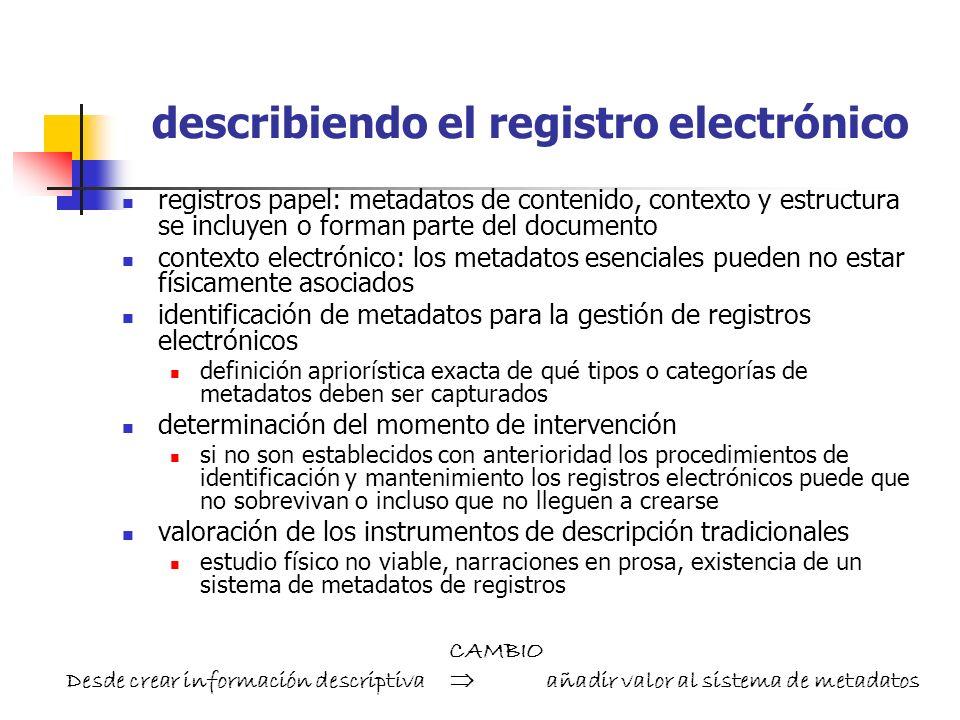 valorando el registro electrónico no es posible la valoración por contenido valoración funcional: contexto y no contenido de los documentos modeling s