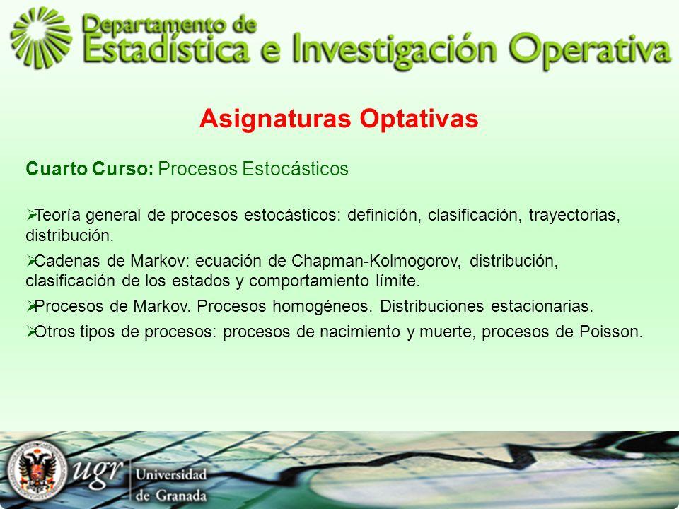 Asignaturas Optativas Cuarto Curso: Procesos Estocásticos Teoría general de procesos estocásticos: definición, clasificación, trayectorias, distribuci