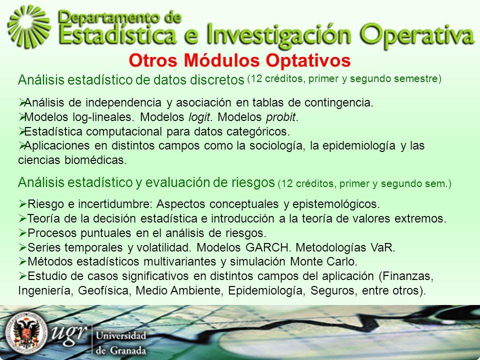 Otros Módulos Optativos Análisis estadístico de datos discretos (12 créditos, primer y segundo semestre) Análisis de independencia y asociación en tab